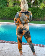 Tie Dye Long Sleeves Ruched Two Piece Pants Set SMF-8032
