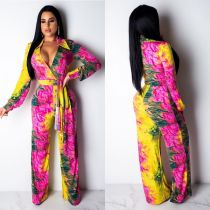 Sexy Printed V Neck Long Sleeves Sashes Jumpsuits OM-1088