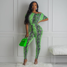 Sexy Snake Skin Print Off Shoulder Jumpsuits YH-5180