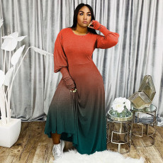 Plus Size Gradient Long Sleeve Maxi Dress WAF-7066
