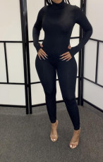 Black Long Sleeves Turtleneck Zipper Jumpsuits YH-5179