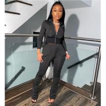 Plus Size Black Long Sleeves Zipper 2 Piece Sets SHE-7212