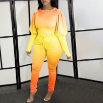 Plus Size Gradient Puff Sleeves 2 Piece Pants Sets YFS-3564