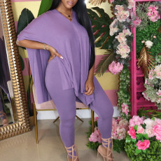 Plus Size Solid V Neck Loose Tops And Pants Set MYF-950