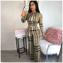 Fashion Classic Plaid Print Long Sleeve Top And Pants Two Piece Set ORY-5057