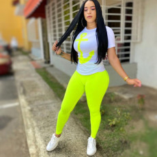 Casual T Shirt Long Pants Two Piece Sets YUF-9020