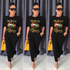Lips Print T Shirt And Pants Two Piece Suits YUF-9025