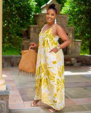 Plus Size Tie Dye V Neck Sleeveless Long Slip Dress YUF-9030