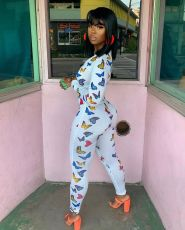 Butterfly Print Skinny Jumpsuit With Bra BGN-109