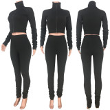 Solid Long Sleeve Zipper Slim 2 Piece Pants Set MDF-5165