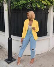 Yellow Notched Neck Blazer Coat BLX-7001