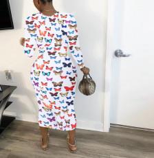 Butterfly Print Long Sleeve Slim Midi Dress WSM-5194