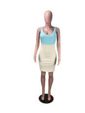 Plus Size Patchwork Sleeveless Mini Dress DMF-8055
