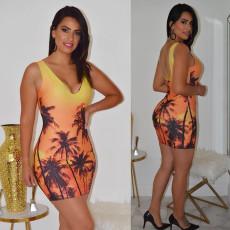 Sexy Printed Sleeveless Bodycon Mini Dress DMF-8060