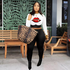 Casual Lip print Long Sleeve Cropped Top And Pants Two Piece Sets DMF-8145