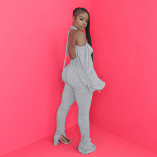 Solid Sexy Backless Split Stacked Jumpsuits YS-8701