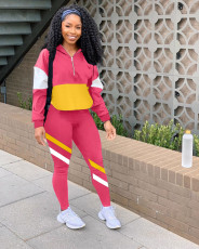 Casual Patchwork Long Sleeve Sports Two Piece Set LM-8189
