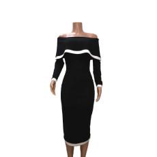 Sexy Rib Slash Neck Long Sleeve Slim Midi Dress BN-9252