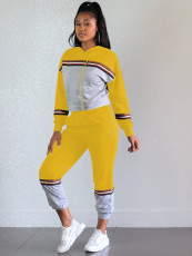 Casual Patchwork Hoodies Sports Two Piece Sets OY-6216