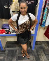 Casual Leopard Print Short Sleeve Splice Dress LSL-6383