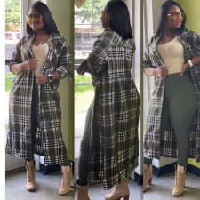 Plus Size Plaid Print Full Sleeve Long Coat OY-6219
