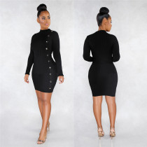 Solid Color Sexy Slim Single Breasted Long Sleeve Mini Dress LSL-6320-1