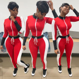 Plus Size Fashion Sports Long Sleeve Top And Pants Two Piece Set WAF-7075
