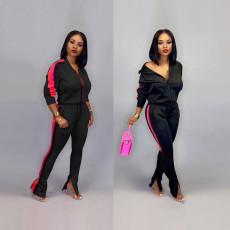 Casual Sportswear Zipper Jacket Long Pants 2 Piece Sets SH-695