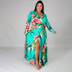 Plus Size Floral Print V Neck Split Maxi Dress ONY-5060