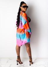 Casual Printed Long Blouse+Shorts Two Piece Sets SHD-9435