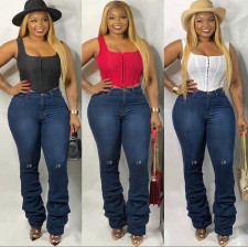 Plus Size Denim Embroidery Letter Stacked Jeans HSF-2113