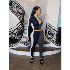 Casual Patchwork Zipper Long Sleeve Tight 2 Piece Sets ML-7370