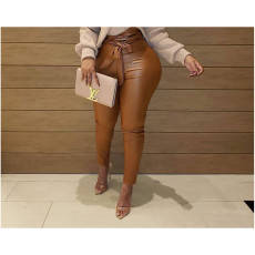 Fashion Casual Solid Color Leather Pants BLI-2156