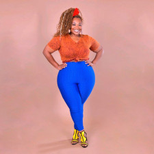 Plus Size Casual Solid Fat MM Skinny Long Pants ONY-5057