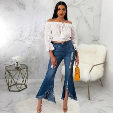 Plus Size Denim Tassel Long Flared Jeans HSF-2321
