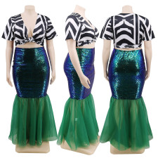 Plus Size 4XL Sexy Sequined Mermaid Long Skirt CYA-1245