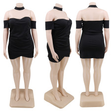 Plus Size Sexy Black Strapless Mini Tube Dress CYA-1221