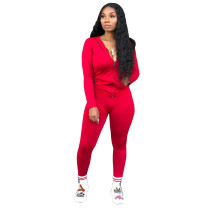 Solid Hooded Zipper Long Sleeve Two Piece Pants Set CYA-8641