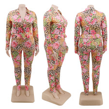 Plus Size 5XL Floral Print V Neck Long Sleeve Jumpsuits CYA-1248
