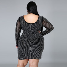 Plus Size 5XL Fat MM Fashion Hot Drilling Party Sexy Dress CYA-1288
