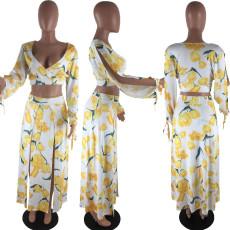 Tulip Print V Neck Long Sleeve High Split Skirt 2 Piece Sets ZKF-1013