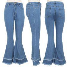 Plus Size Denim Skinny Flared Jeans Pants HSF-2244