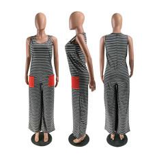 Casual Striped Sleeveless Wide Leg Jumpsuits ZKF-1017