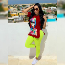 Casual Printed T Shirt And Panrts 2 Piece Sets ZKF-1007
