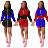 Contrast Color Long Sleeve Zipper Slim Mini Dress YIY-5216