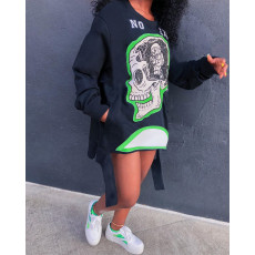 Plus Size Casual Printed Pullover Sweatshirt Dress YIY-5218