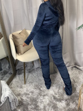 Solid Hooded Zipper Stacked Jumpsuits AWN-5110