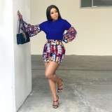 Trendy Printed Long Sleeve Mini Skirt 2 Piece Sets AWF-0027