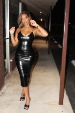 Sexy Leather Split Bodycon Midi Dress BLI-2166