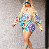 Tie Dye Print Long Sleeve Two Piece Shorts Set AWF-0028